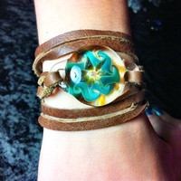 Italian leather bracelet/choker necklace with implosion flower