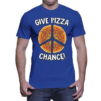 Give Pizza Chance T-Shirts - Men's Crew Neck Novelty Tee
