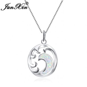 Moon Necklaces White Fire Opal 925 Sterling Silver Filled Jewelry