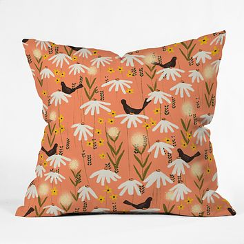 Joy Laforme Blooms of Dandelions and Wild Daisies Throw Pillow