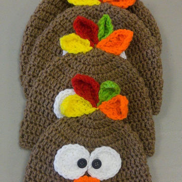 Baby  thanksgiving hat - Baby turkey hat - Crocheted Turkey Hat - Thanksgiving photo prop - Fall photo prop