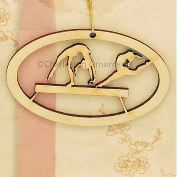 Unique Wooden Gymnast Beam Engraved Ornament ~ FREE PERSONALIZATION