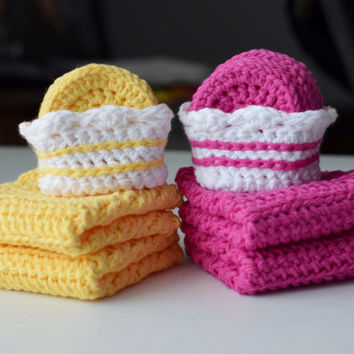Bath Gift Set: Pink or Yellow - Set of 8 Small Scrubbies with Two Washcloths (100% Cotton) More Colors Available if you Request Custom Order