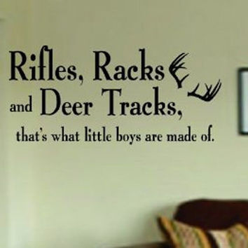 Rifles Racks and Deer Tracks Child Quote Animal Design Decal Sticker Wall Vinyl Art Decor Home