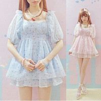 High quality pink one piece dress summer girls soft sister sweet lolita lace dot one-piece dresses dobby fashion cute kawaii OP