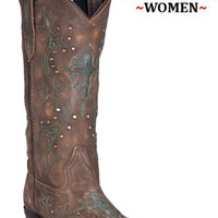 Laredo Boots Western Cowboy Leather Cross Point 52032 Womens Tan/Turquoise