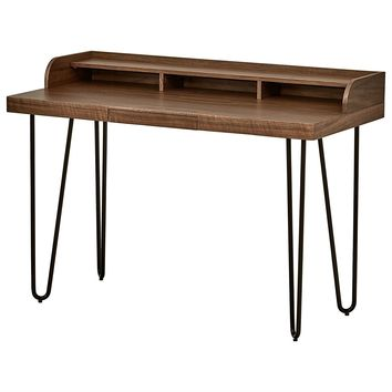 Walnut Desk With A Unique  Metal Hairpin Design For Home Office