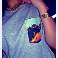 Sunset Grey Pocket T Shirt