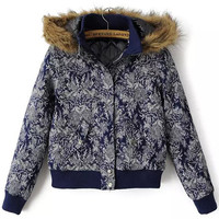 Navy Blue Floral Print Fur Hooded Cropped Jacket