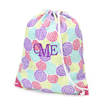 Monogrammed Bloom Flowers Pink Purple Aqua Geometric Gym Bag with Drawstring Backpack School Bookbag