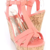 Peach T Strap Cork Platform Wedges Faux Leather