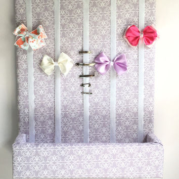 Hair Bow Holder with Shelf ~ Purple Hair Bow Organizer, Hair Accessories Organizer, 16x20 inch Hair Bow Holder