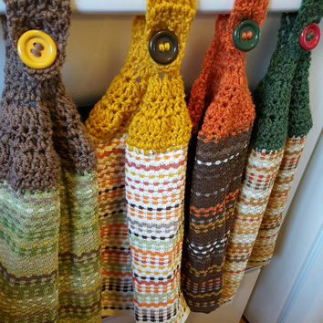 Autumn crochet Oven towel holder.  Made by Bead Gs on Etsy.