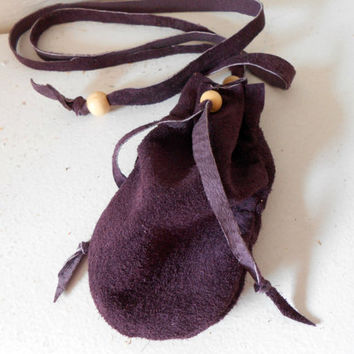 Amulet Bag, Medicine Pouch, Purple Leather Drawstring Pouch, Handmade, Hippie, Boho, Gypsy