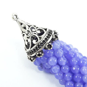Long Periwinkle Purple Jade Stone Beaded Tassel with Antique Matte Silver Plated Filigree cap - 1pc