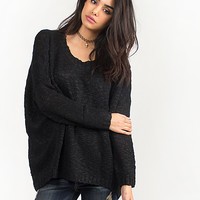 Knitted Crewneck Hi-Low Sweater Top