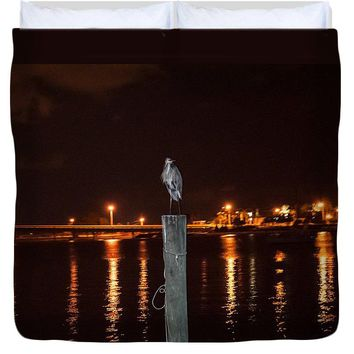 Blue Heron Night - Duvet Cover