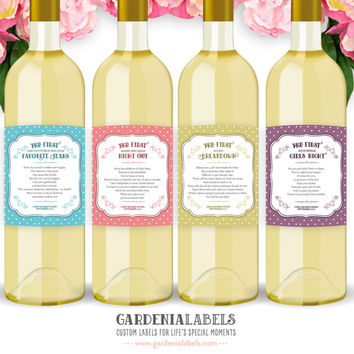 New Mom Gift Wine Labels (Set of 4), Baby Shower Gift,  New Parent Present, Mommy Milestone Labels, New Mommy Wine Labels,