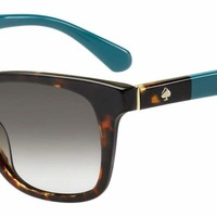 Kate Spade - Charmine S Havana Turquoise Sunglasses / Gray Green Lenses