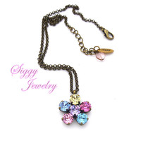 Swarovski® Crystal Flower Pendant, Multi-Stone Pastel Daisy, Assorted Finishes, Available On a Chain Or Detachable Clasp, Gift Packaged