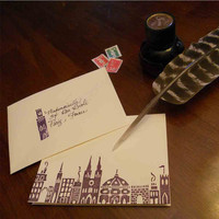 VIllage Notecards  set of 10 handmade cards by TravelingChariot