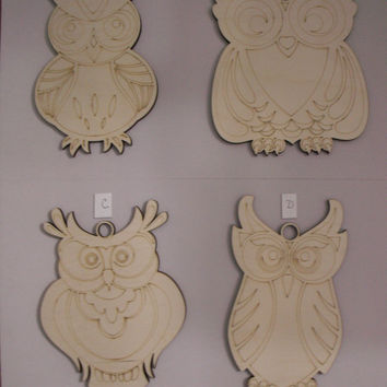 Large Owl, Wood Shapes, Assorted Styles, Laser Cutouts, Unfinished Wood, Ready to Paint Wood Shapes, Door Hangers, Wreath Embellisment