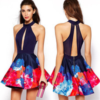 Splice Backless High Waist Pleated Dress