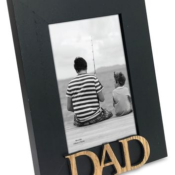 "Isaac Jacobs Black Wood Sentiments ""Dad"" Picture Frame, 4x6 inch"