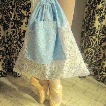 Ballet Shoe Bag, Dance Shoe Bag, Pointe Shoe Bag in Blue Flowers