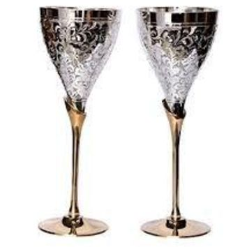 Cultural Hubreg JK6900368 Royal Goblets Wine Glasses 2 Silver Plated Brass Hand Engraved Wine Cups Barware Comes with Beautiful Gift Box 75quot Height X 2 Goblet Set