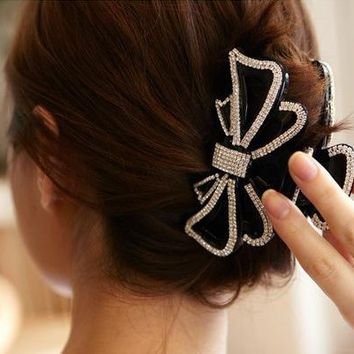 Large Size Circles Crystal Hair Clips Beautiful Girls Stones Hairpins Crab Claws Jaw Clamp Hair Jewelry for Women Black Brown