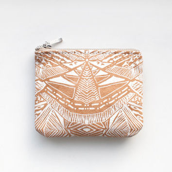 Tribal Pattern Coin Purse Printed Leather zipper SCP-108 camel
