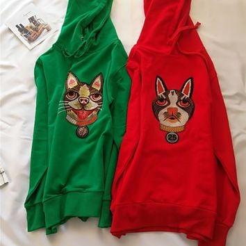 New womenn heavy embroidered sweatshirt European and American style trend dog head embroidery terry long-sleeved hoodie