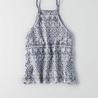 AEO Hi-Neck Tulip Back Tank, Washed Blue