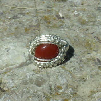 Wire Wrap Ring Orange Carnelian 925 Sterling Silver Size 7 Handmade Heady Jewelry