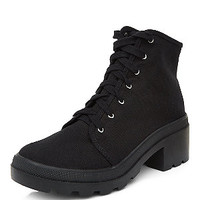 Black Cleated Sole Block Heel Lace Up Boots