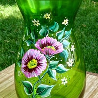 Green Glass Vase With Painted Flowers