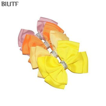 ESB1ON 32pcs/lot 4.5*3.8'' Double Layer Grosgrain Ribbon Bow Knot Girl Hair Clip Accessories New Colors for Choose HDJ112