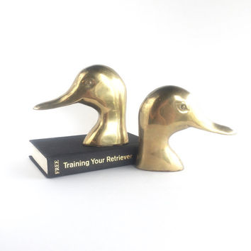 Vintage Large Brass Duck Heads