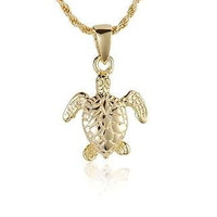 YELLOW GOLD PLATED STERLING SILVER 925 HAWAIIAN 3D BABY SEA TURTLE PENDANT
