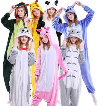 Kawaii Flannel Pijama kigurumi For Women Pokemon Pikachu Onesuit Adult Totoro Sleepwear Couple Pyjamas Halloween Party Jumpsuit
