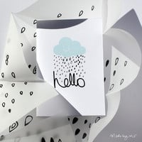 HELLO Illustrated blue cloud rain card