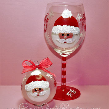 Hand Painted Wine Glass Ornament Set - Santa Face - Original Designs by Cathy Kraemer