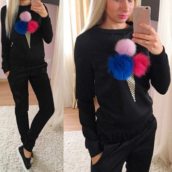 New Autumn Winter Ladies Casual 3D Ice Cream Plush Ball Tracksuit Fashion Women 2pcs Set Hoodies Swe