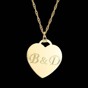 Custom Heart Necklace - Heart Initials Necklace - Personalized Heart Necklace - Personalized Initials Necklace - Heart Engraved Necklace