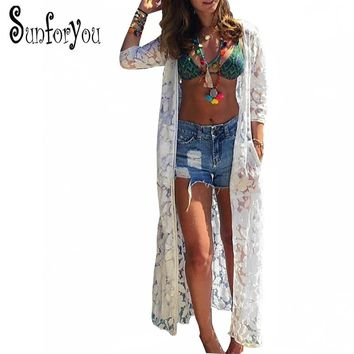 Saida de Praia 2018 Cover ups Beach Dresses Lace Robe Plage Beach Cover up Saida de Praia Longa Beach Tunic Pareos Bikini Cover