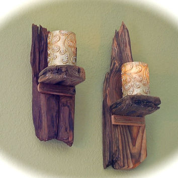 "Driftwood Wall Candle Sconces (2)  Salvaged From the Beach- Cleaned, Cut, Stained, Comes Ready to Hang 13"" and 18"" tall  x 5"" wide x 5"" deep"
