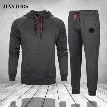 Men Sportswear Fitness Tracksuit - Hoodies Set - Men's 2PC Sweatshirt+SweatPants Outwear