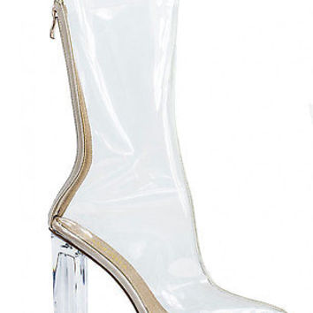 NEW WOMEN LADIES CLEAR PERSPEX OVER THE ANKLE BOOT SIZE 3 - 8 | eBay