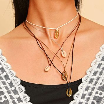 Shell Charm Multi Layered Chain Necklace 1pc